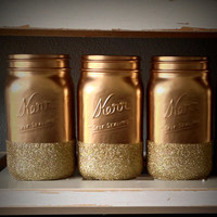 Mason Jar Vase // Gold and Glitter Mason Jar Vase