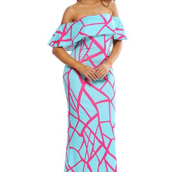 Mint Green Fuchsia Off-the-shoulder Maxi Dress