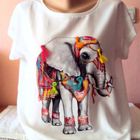 Elephant T-Shirt Embellished with Tassels Festival Top Ethnic T-Shirt Yoga Top Fitness Clothes Women Meditation Top Fashion Tops Streetwear