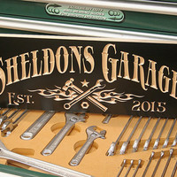 Personalized Garage Sign: Custom Made Business Sign Carved Wooden Sign Tool Image Workshop Sign Man Cave Sign Maple DG