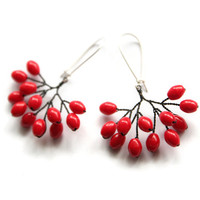 Berry Earrings with Red Oval Beads - Rowan Berries - Unique Handmade Earrings - Tree and Branches