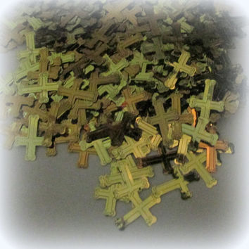 Gold and Copper Colored  Foil Cross Confetti - PIF - Destash