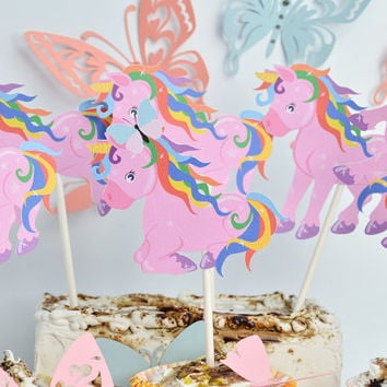6 High Unicorn Cake Toppers Baby Shower, Unicorn Birthday Decoration, Unicorn Birthday Party, Unicorn Cupcake Topper, Unicorn Party Supplies