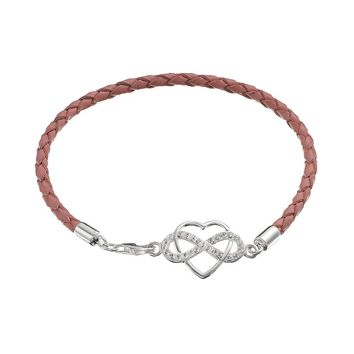 Crystal Sterling Silver Infinity Heart Link Woven Leather Bracelet (White)