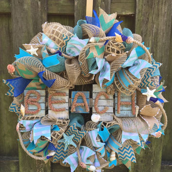Beach Wreath,Nautical Decor,Coastal Wreath, Nautical Wreath,Beach House, Beach Wedding,Wedding Gift,Coastal Decor, Shell Wreath,Coastal