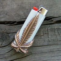 Solid Bronze Marijuana Leaf Bic Lighter Case