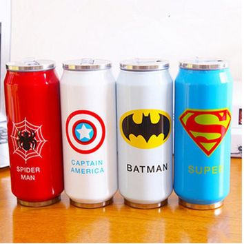 Stainless steel anime Baymax 1314 kt Coke jingle mugs Children cans with straw insulation Cup Coke Vacuum Flasks