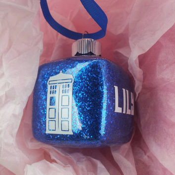 Dr Who Ornament - tardis ornament - Personalized Ornament - blue glitter - geek ornament