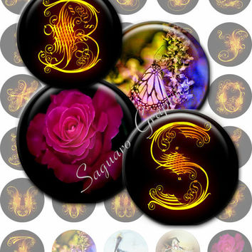 LACY CURLS - 1.5 inch - SG53 - Lettering Artwork for Pendants, Bottle Caps, Cabochons, Magnets, Editable, Stickers, Arts and Crafts