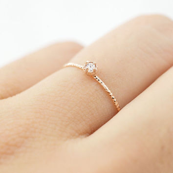 14K rose gold diamond ring, Simple gold diamond ring, Minimalist diamond ring, Rose gold simple ring, Birth stone ring, diamond ring, Ring
