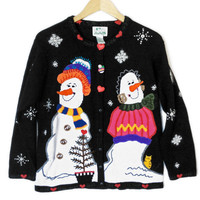 Smirking Snowmen, Hidden Kitten Tacky Ugly Christmas Sweater