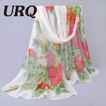 Spring Long Chiffon Silk scarves Floral Style beautiful Spring Flower Scarf Women scarves Sheer silk Foulard Stole P5A16256