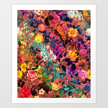 Floral and Birds II Art Print by burcukorkmazyurek