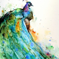PEACOCK Large Watercolor Print by Dean Crouser