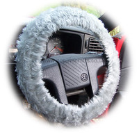 Light Silver Grey Fuzzy faux fur car steering wheel cover furry and fluffy