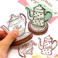 Vintage Teapot Stamp. Retro. Wooden Stamp. Rubber Stamp. Scrapbooking. Gift Wrapping. Home Decor..
