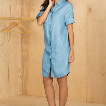 Chambray Shirt Dress- FINAL SALE