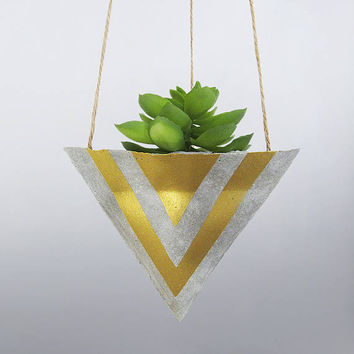 Hanging Planter, Air Planter, Succulent Planter, Concrete Planter, Mini Planter, Modern Planter, Unique Planter, Gift for Her, Gold - L