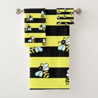 Wasp stripes and cartoon insects pattern kids bath bath towel set