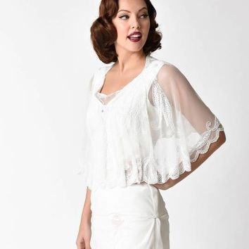 1920s Style White Beaded Sheer Mesh Capelet