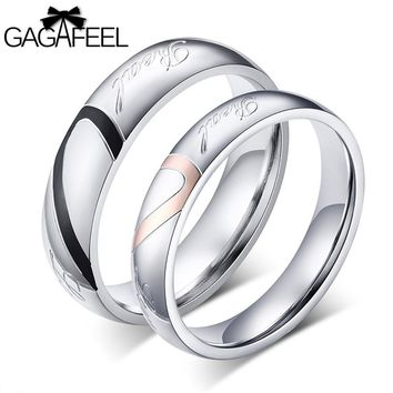 GAGAFEEL Lovers Rings Men Women Stainless Steel Rings Finger Accessories Love Romantic Jewelry Big Sizes 4-15 Engagement Bands