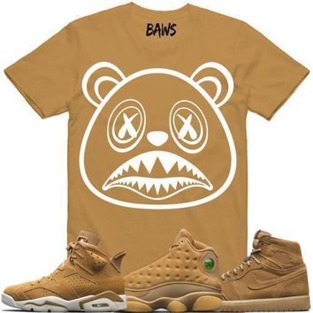 Jordan Wheat Golden Harvest Sneaker Tees Shirts - BAWS LOGO