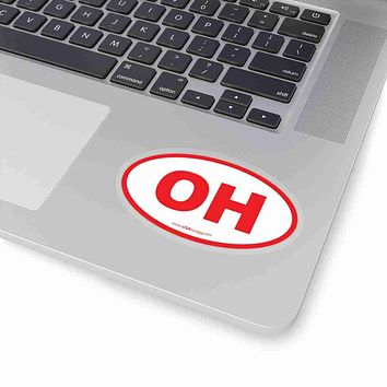 Ohio OH Euro Oval Sticker RED