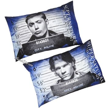 Licensed cool Supernatural Mug Shot Sam Dean Join Hunt Standard Pillowcase Pillow Case 2 Pack