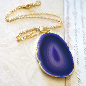 Purpled Decadence Agate Necklace - Druzy Agate Slice Jewelry - Agate Necklace Slice - Natural Stone - Crystal Gemstone