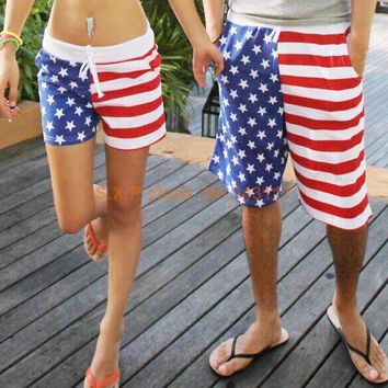 Cute Matching Board Shorts Red White & Blue