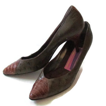 Brown Croc and Ostrich Pumps Susan Bennis Warren Edwards