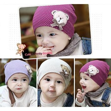 1 Pcs Cute Winter Newborn Crochet warm Cotton Baby beanie Hat Girl Boy Cap Children Unisex Bear Infant