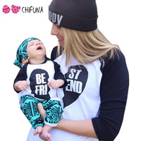 chifuna 2017 Spring Autumn Family Matching Outfits T-shirts Tees Best Friend Print Good Quality Cotton Tops Family Look