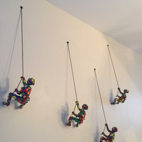 Climbing man wall art Hand Painted Glossy set of 3 pieces USA Seller hand painted acrylic