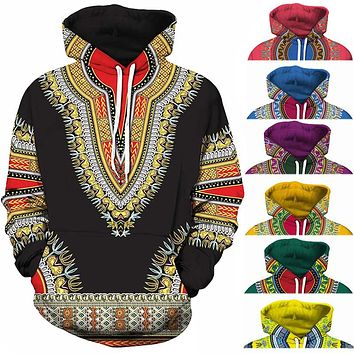 Bazin Riche Traditional Print Pullover African Dashiki Hoodie 3D Patttern Red