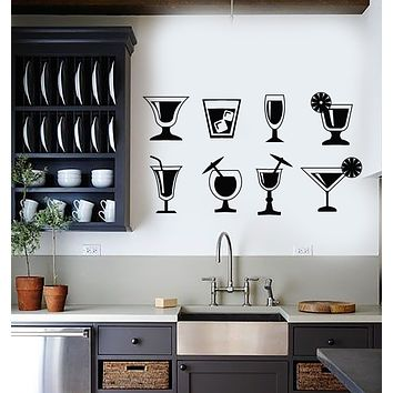 Vinyl Wall Decal Cocktail Party Drink Glass Kitchen Beach Bar Cafe Stickers Mural (g616)