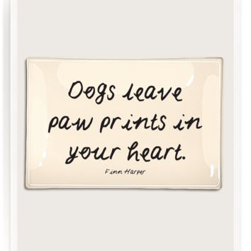 Dogs Leave Paw Prints Decoupage Glass Tray