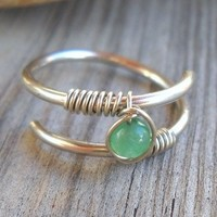 Jade Wrapped Silver Wire Twisted Ring