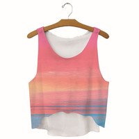 Summer Womens  Settingsun Printed Show Hilum Tank Top Slim Sports Vest Gift - 43