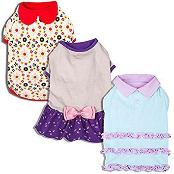Blueberry Pet Shirts for Dogs with Vary Package, Pack of 1 or Pack of 3 Dog T-Shirt with Peter Pan Collar Ruffle Polo Dress and Bow Dress Design