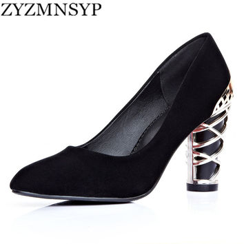 2016 women fashion nubuck PU Metal decoration black blue red bottom high heels ladies pumps party shoes woman pointed toe shoe