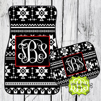 Car Mats Aztec Personalized Monogrammed Floor Car Mat Black White Aztec Tribal