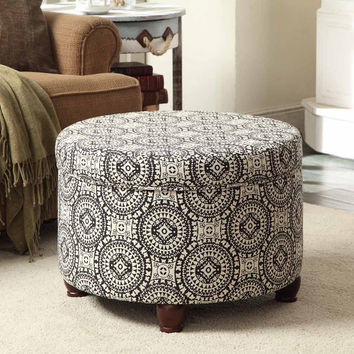 Black/White Medallion Suzani Large Round Storage Ottoman