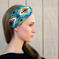 Southwestern Turquoise Vintage Headband: Retro Style Band, Native Southwestern Faux Head Wrap for Adults, 100% Cotton Fabric