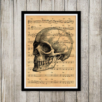 Anatomy print Skull poster Old paper decor Note sheet print NP108