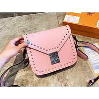 MCM casual fashion lady single shoulder bag with pure color rivet shopping bag Pink