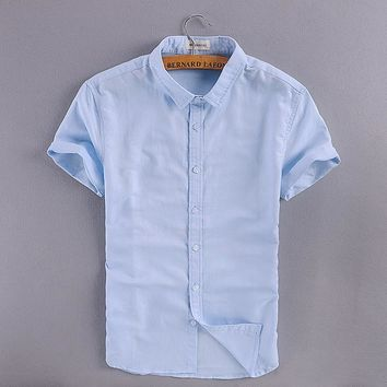 Italy Brand Linen Shirt Men Solid Short Sleeve Square Collar Cotton Men Shirt Casual Business Shirts Mens Fashion Chemise Homme