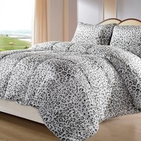 Cozy Beddings BH5010-K Snow Leopard Reversible Down Alternative Animal Print Comforter Set, Gray/White, King