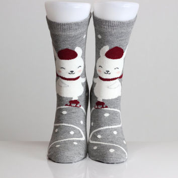 Dancing Rabbit Socks Gray Socks Red Hat Heart Socks Women Girls Boys Socks Women Socks Funny Socks Ankle Socks Animal Socks Cute Fun Socks