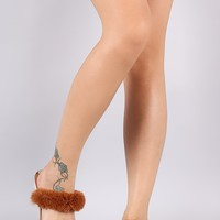 Bamboo Double Faux Fur Band Jelly Sandal